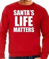Rode kersttrui kerstkleding santas life matters heren