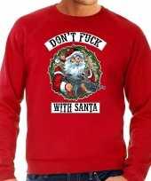Rode lelijke kersttrui kerstkleding dont fuck with santa heren grote maten