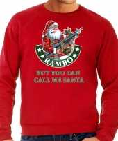 Rode lelijke kersttrui kerstkleding rambo but you can call me santa heren