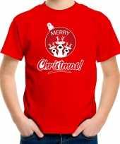 Rood kerstrui kerstkleding merry christmas kinderen rendier kerstbal