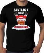 Zwart kerstrui kerstkleding santa is a big fat motherfucker heren grote maten