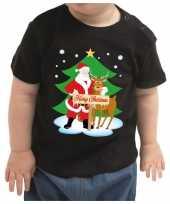 Zwart kerstrui kleding merry christmas kerstman rendier baby kinderen