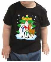 Zwart kerstrui kleding santa kerstman dierenvriendjes baby kinderen