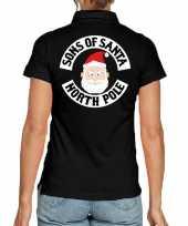 Zwarte kerspolo kerstkleding sons of santa north pole dames