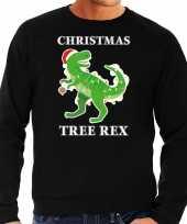 Zwarte kersttrui kerstkleding christmas tree rex heren