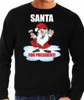 Zwarte kersttrui kerstkleding santa for president heren