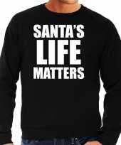 Zwarte kersttrui kerstkleding santas life matters heren