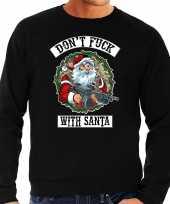 Zwarte lelijke kersttrui kerstkleding dont fuck with santa heren grote maten